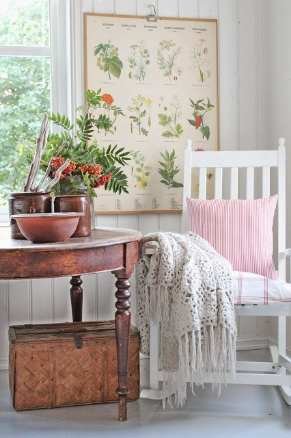 A nice place to rock and relax for a little  while... Botanical print on wall adds a nice touch.