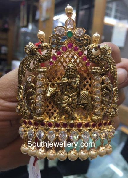 Antique Gold Lord Krishna Pendant photo