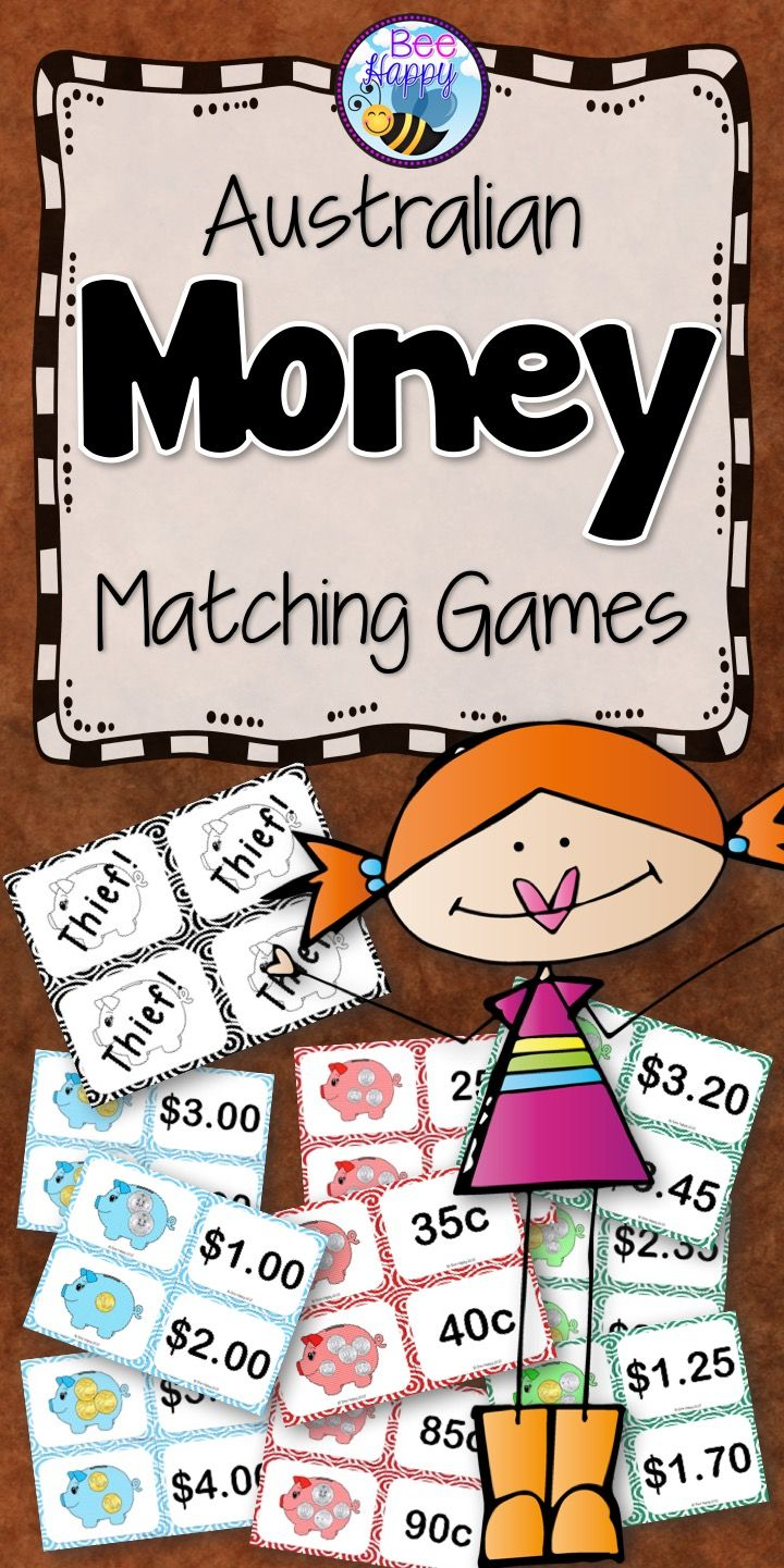 5 exciting games that require minimal preparation – just print, cut and laminate (if desired). A bank of coins, dice and counters are also needed for two of the games. Concentration, Moneybags, Thief! Go Fish and Spiral. A great package to supplement any Australian Money program!                                                                                                                                                                                 More