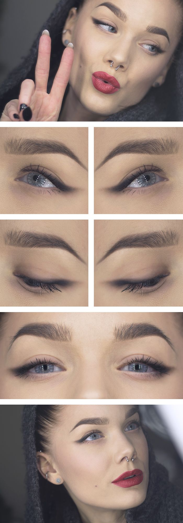 "Today's Look : ""Keep it Simple"" -Linda Hallberg (black eyeshadow applied and smudged as eyeliner, bold red lips) 01/06/14"