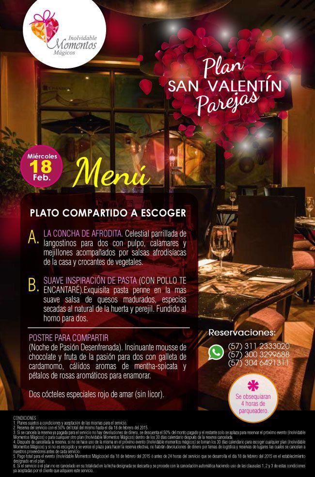 CENA ROMÁNTICA - CELEBRACIÓN DE SAN VALENTÍN DÍA: miércoles 18 de Febrero,  HORA: 7 de la noche, en el lujosos restaurante te encantare,  LUGAR: Restaurante Te Encantare DURACIÓN: 2 horas COSTO: $280.000 por pareja whatsapp 311-2333020 / 300-3299688 email info@eventos-imm.com http://celebracionesyeventos.com/cena-romantica.html  #cena #romántica #parejas #Bogota #Usaquen