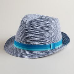 One of my favorite discoveries at WorldMarket.com: Blue  Woven Fedora Hat