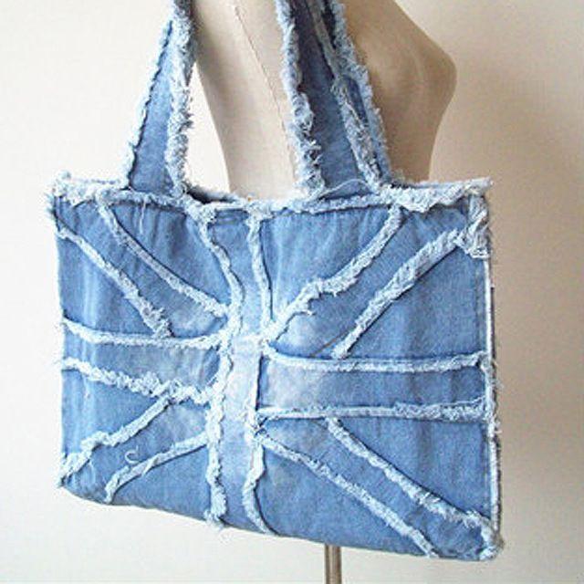 2016 new fashion england donne di stile union flag denim sacchetti di spalla della signora borse di grandi dimensioni capacità blu denim borse 0053