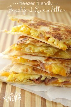 Want a great make ahead breakfast? Make a big batch of these Freezer Breakfast Quesadillas 1 of 4 ways for and easy grab and go breakfast!
