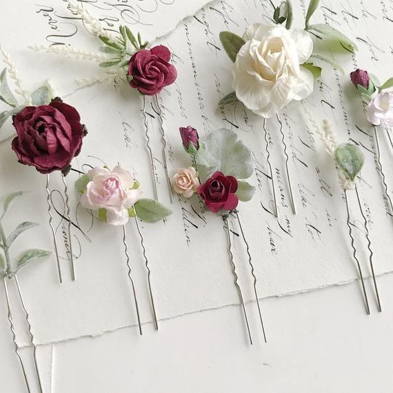 Ivory rose hairpin Garden wedding Flower for hair pin Wedding hair pin Wedding rose hair pin Flower accessories
