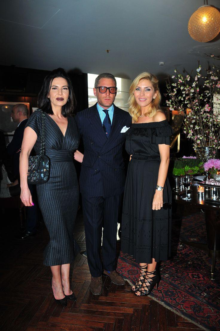 Sitare Akdilek, Lapo Elkan and Arzu Sabanci at the Soho House during The PINKO Invasion presentation, Istanbul