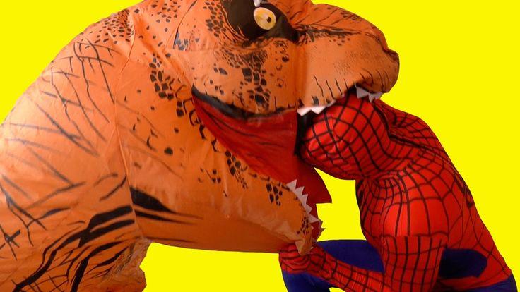 Человек Паук и Эльза Холодное Сердце мультик - Тирекс Динозавр съел Эльзу Человек Паук Спасает