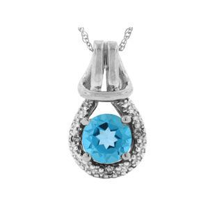 Blue Topaz Birthstone Diamond Sterling Silver Love Knot Pendant Available Exclusively at Gemologica.com