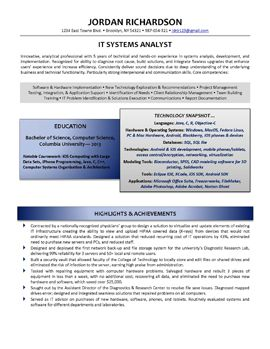 IT Systems Analyst Page 1