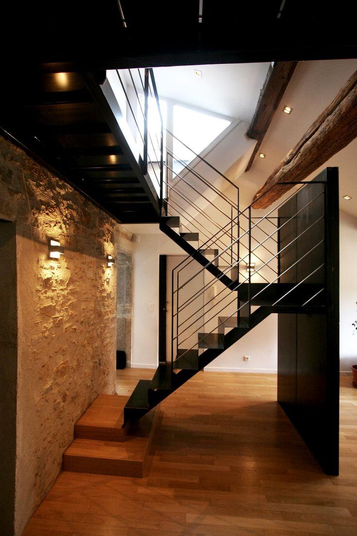 39 best images about un escalier sur limon central design. Black Bedroom Furniture Sets. Home Design Ideas