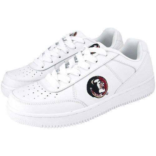 NCAA Florida State Seminoles (FSU) White Team Logo Leather Tennis Shoes Football Fanatics. $49.95