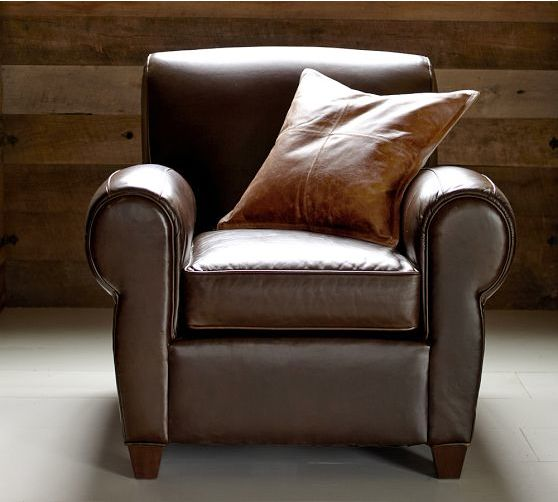 Manhattan Leather Club Chair At Pottery Barn Color Whiskey Professor Rogers Family Room Pinterest Sofa Pillows And Pillow