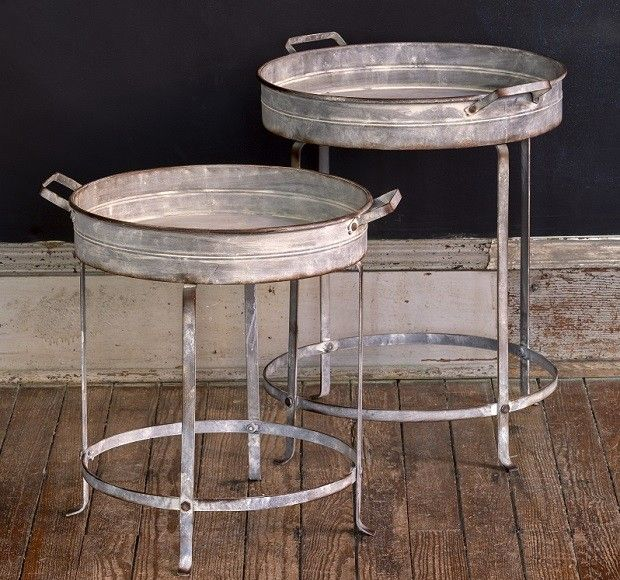 Round Tray Table | Metal Tray Table | Small Round Table Antique Farmhouse