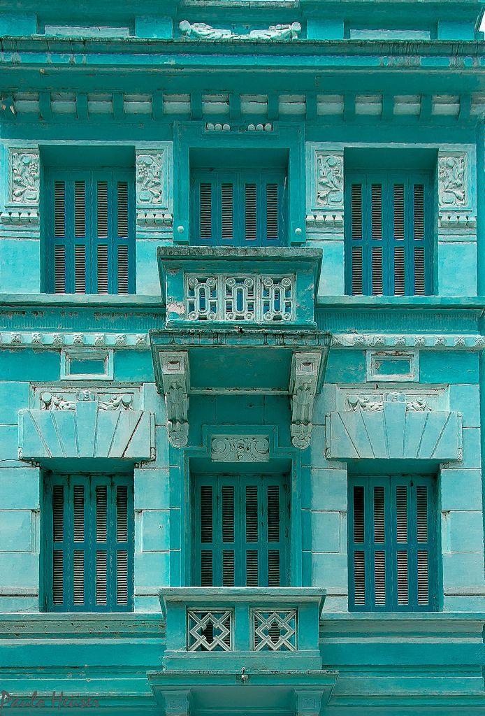 """épinglé par ❃❀CM❁✿⊱~ It's a Colorful Life ~ """"Facade in Blue, Porto Alegre, RS, Brazil"""" ~ Photography by Paulo Heuser"""