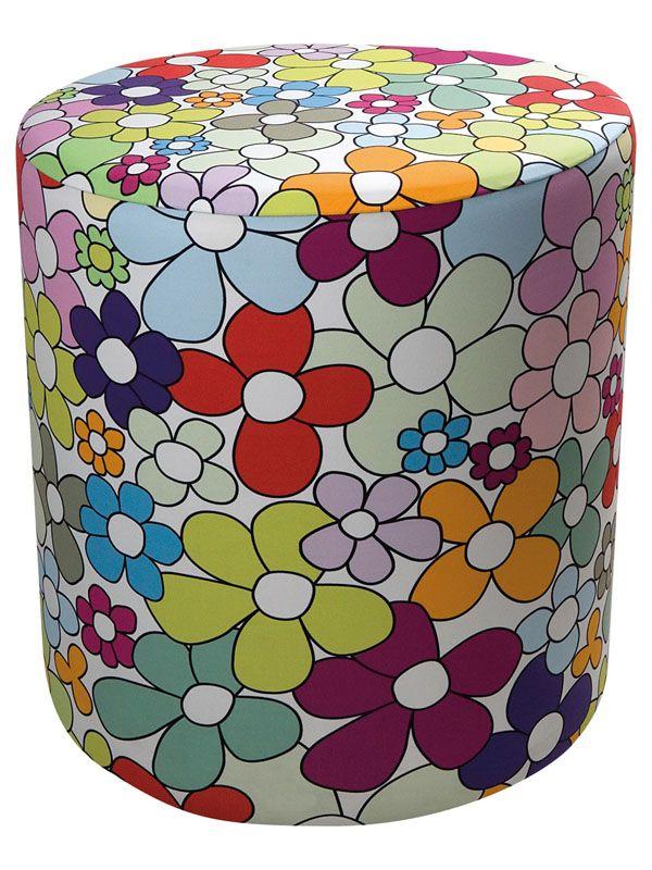 Fodera Pouf Lycra 100% Flowers Creativando | Coquelicot DesignFodera in fantasia colorata realizzata in lycra 100% e lavabile a mano o in lavatrice. Abbinabile con l'articolo POUF