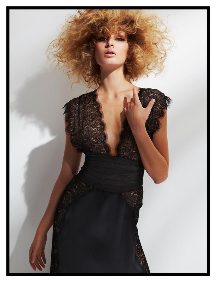 Black silk organza and lace dress