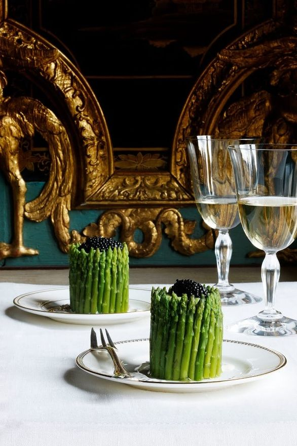 asparagus and caviar...green and black