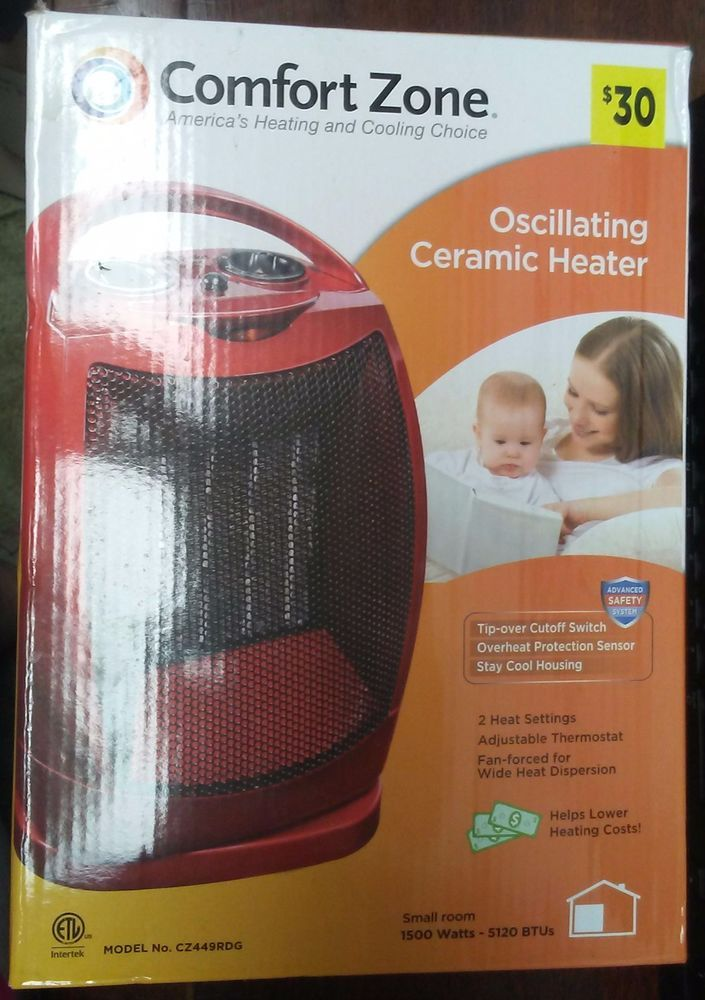 New Comfort Zone Oscillating Ceramic Heater Red Model No Cz449r 2
