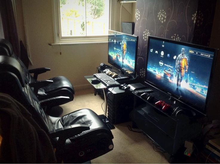 Gaming Room Ideas cool lighting on a budget. also, note the clever four-monitor