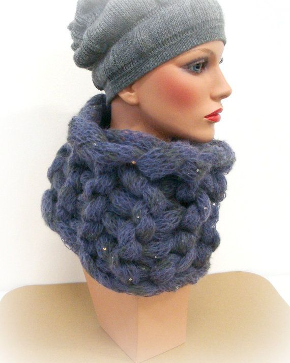 Violet Purple Cowl  Handmade Cowl Knit  Original by InkaBoutique, $38.00
