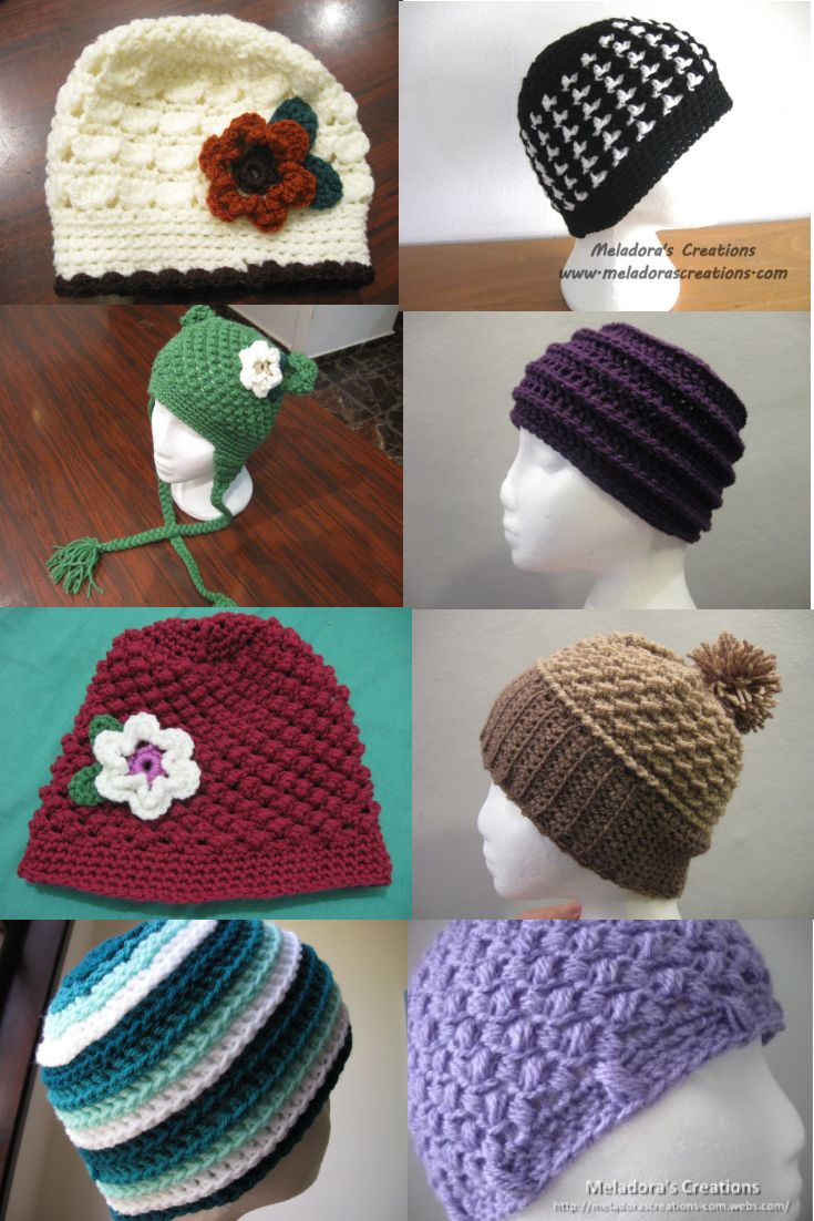 15 Free Beanie Crochet Patterns, all come with pictures and video tutorials. by Meladora's Creations