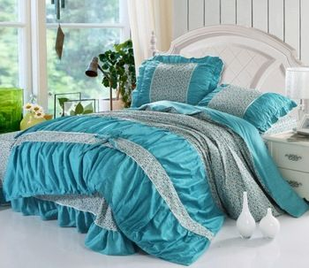 100% cotton Twill Home textile rural style Princess Garden blue 4pcs Bedding set Girl's Duvet cover set/B2030 Express shipping