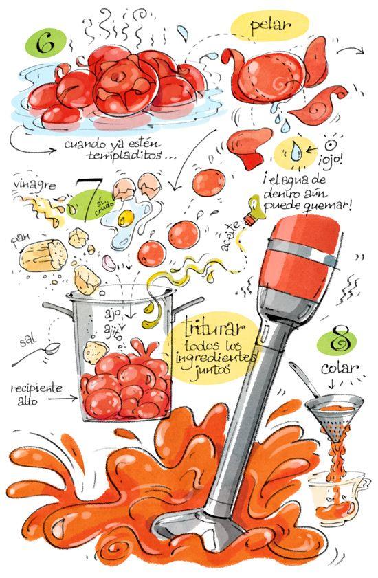 Cartoon Cooking: Señor Tomate - Salmorejo  1kg tomates 1 diente gordo de ajo 1 huevo (crudo) 200g pan de ayer (más o menos) 1 buen chorro de aceite (como un vasito) 1 chorrito de vinagre 1 cucharada de sal