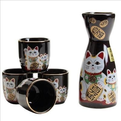 Cute japanese sake set Fortune cat