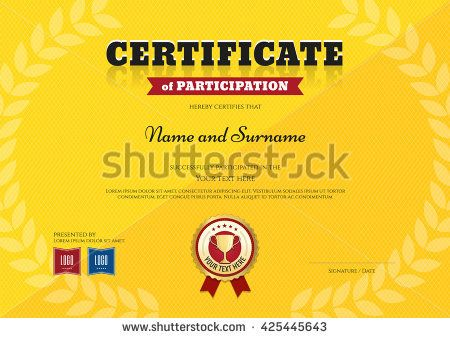 Certificate Of Participation Template In Sport Yellow Theme With Triumph  Laurel Wreath And Trophy Ribbon  Certificate Of Participation Format