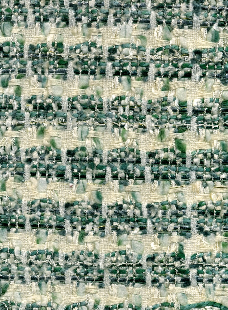 Green and cream Linton weave fabric silk and wool