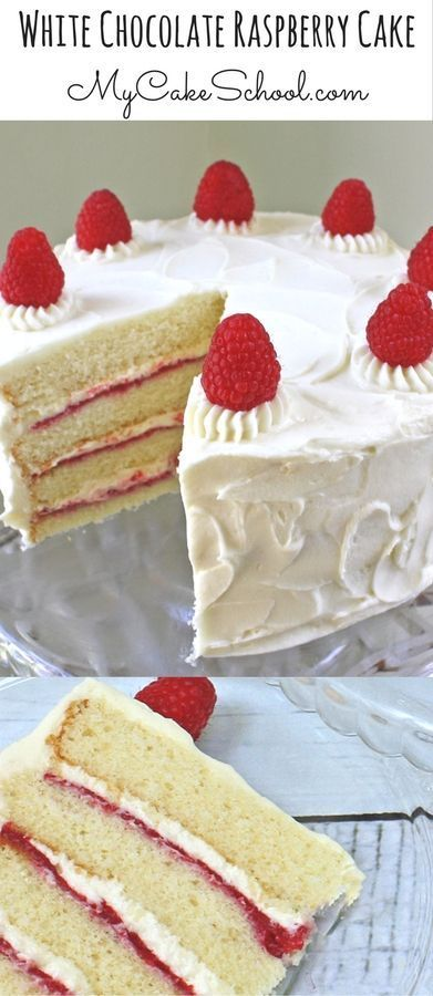 AMAZING White Chocolate Raspberry Cake Recipe by MyCakeSchool.com! White Chocolate Cake Layers with White Chocolate Buttercream Frosting and white chocolate & raspberry filling! #MyCakeSchool #WhiteChocolateRaspberryCake #CakeRecipes