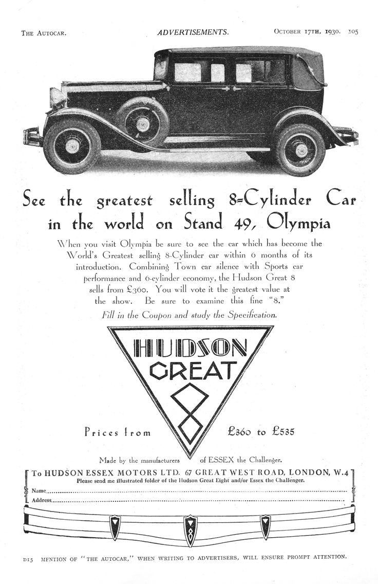 Hudson great eight 8 autocar motor advert 1930 motorscar