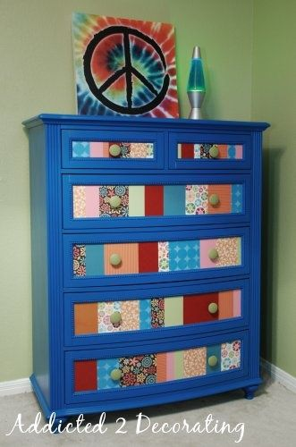 """Decoupage furniture. The link is not working anymore, so this is """"INSPIRATION ONLY"""", but that is all you need. Pick an appropiate chest, and go crazy picking the decoupage papers. Add  Mod Poge, and that's it!"""