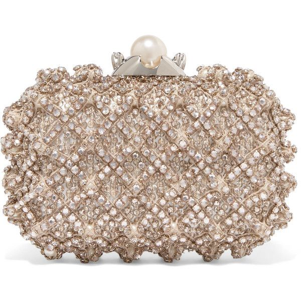 Jimmy Choo Cloud embellished satin clutch ($3,240) ❤ liked on Polyvore featuring bags, handbags, clutches, satin handbags, jimmy choo purses, jimmy choo, party handbags and jimmy choo clutches