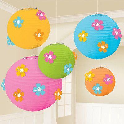 5 x Hawaiian Hibiscus hanging Paper LANTERNS Party Decorations FREE P&P