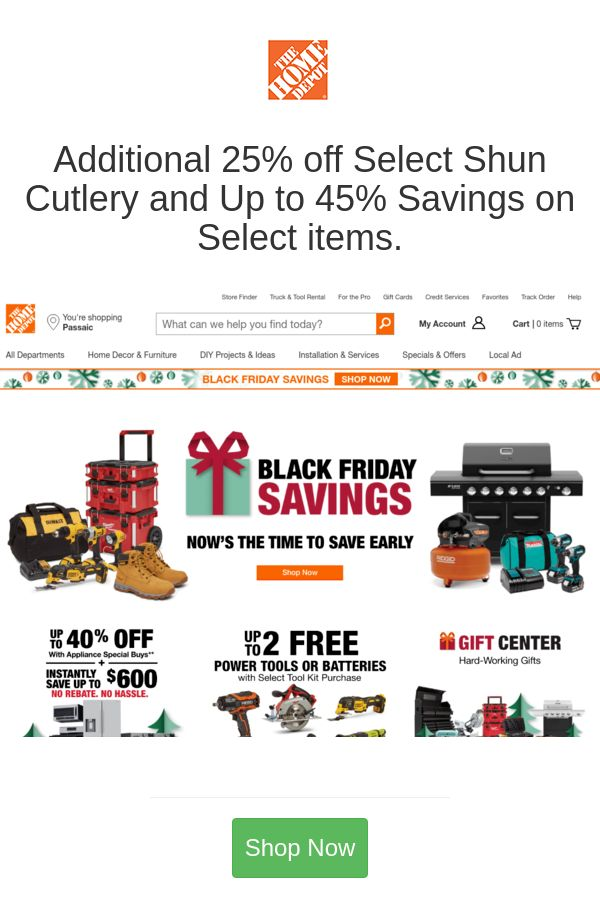 Additional 25 Off Select Shun Cutlery And Up To 45 Savings On Select Items Home Depot Coupons Home Depot Home Depot Sales