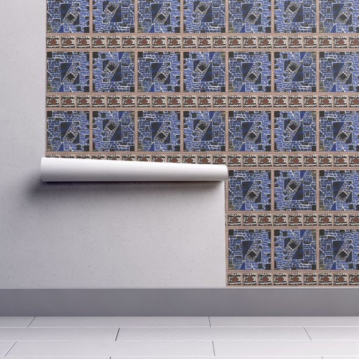 Isobar Durable Wallpaper featuring BLUE MOSAIC AND ROPE Brown ecru by paysmage   Roostery Home Decor