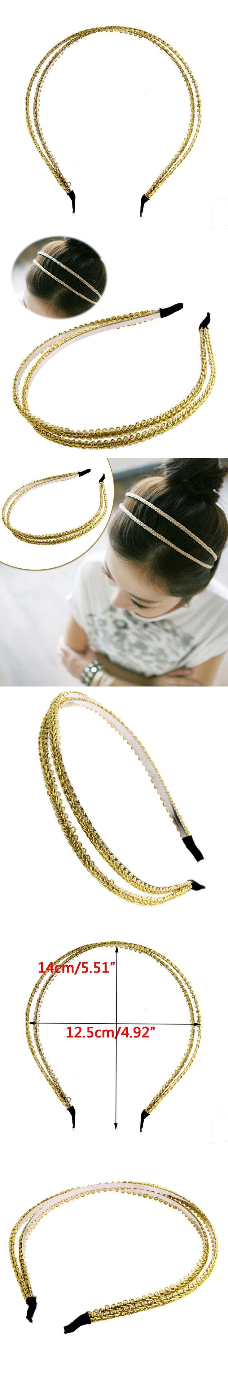 Kemei Womens Fashion Double Chain Jewelry Metal Headband Hair Hoop Headpiece Hair Band