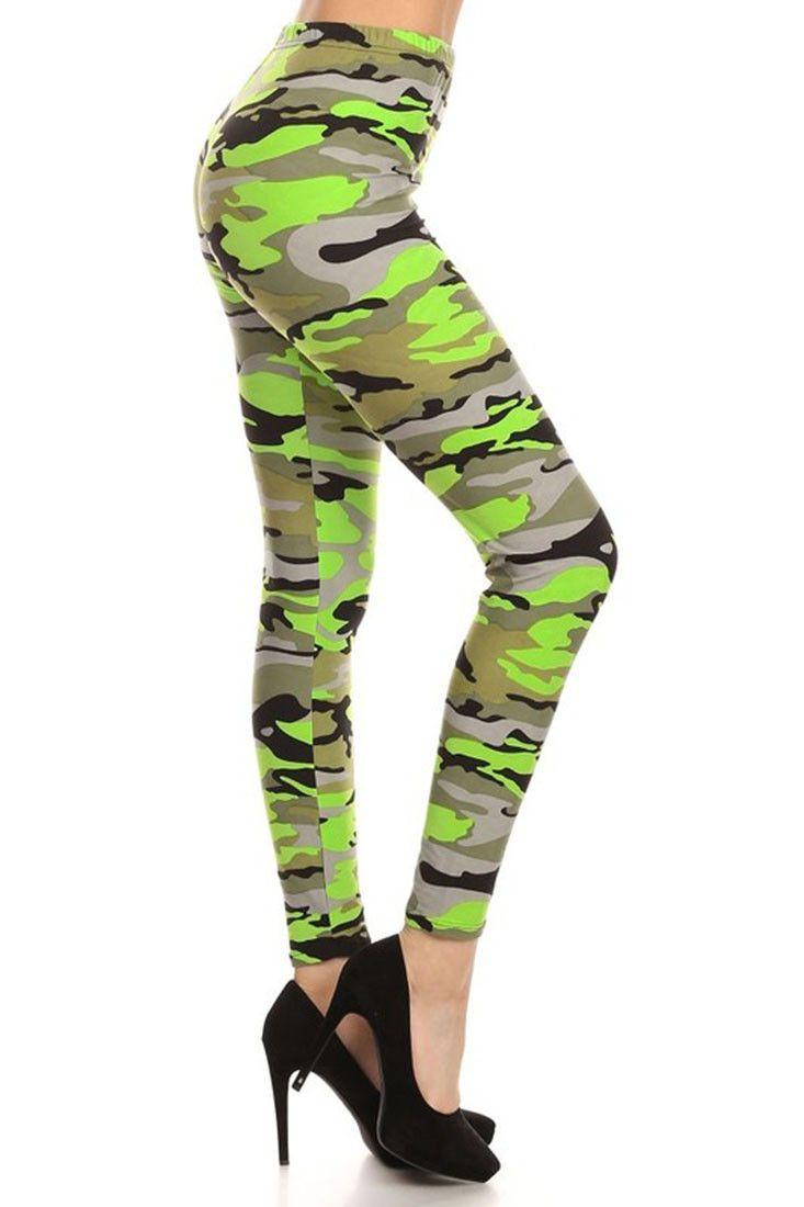 0ed03e2950 Neon Green Camo Graphic Print Lined Leggings