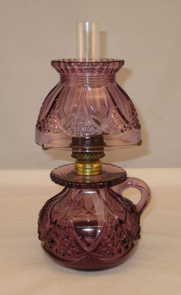 Antique Amethyst Glass Miniature Oil Lamp w/ Pontil