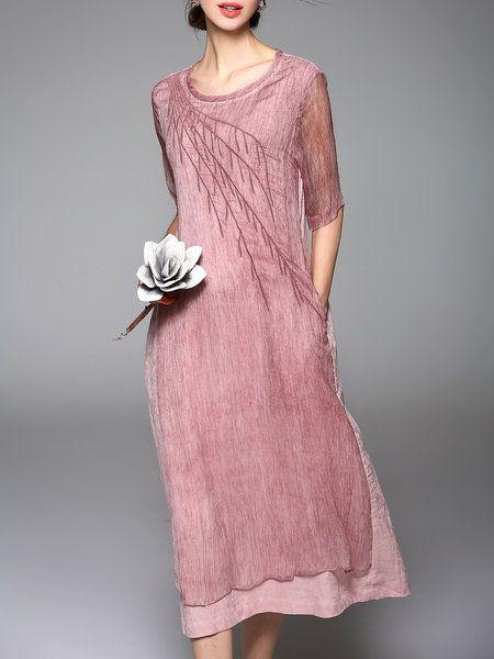 Pink Vintage Plain Crew Neck Embroidered Midi Dress