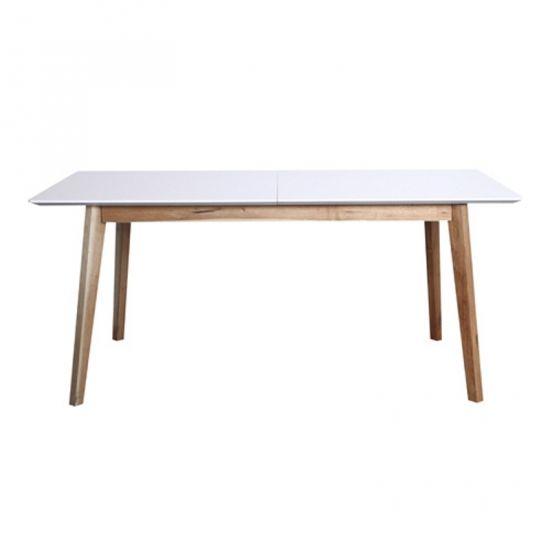Durham matbord 180/1 tillägg vit/valnöt