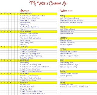 Planner Printables: My Cleaning Lists ~ Life's Greatest Blessings