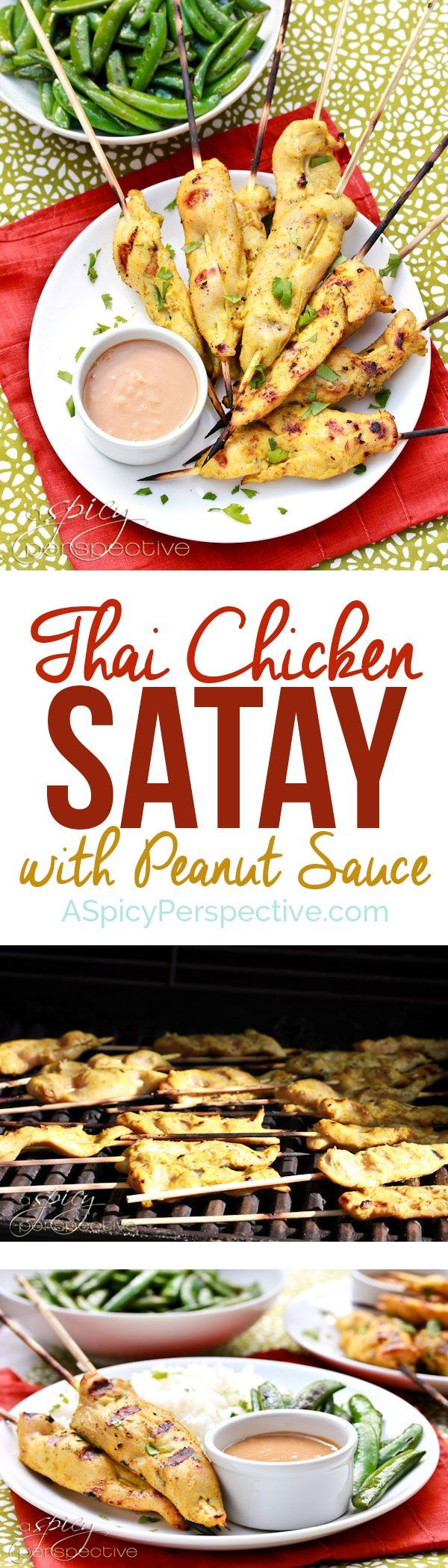 Easy Thai Chicken Satay With Peanut Sauce | http://ASpicyPerspective.com
