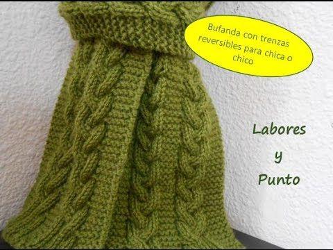 Como tejer una bufanda para hombre o mujer con trenza triple reversible ...