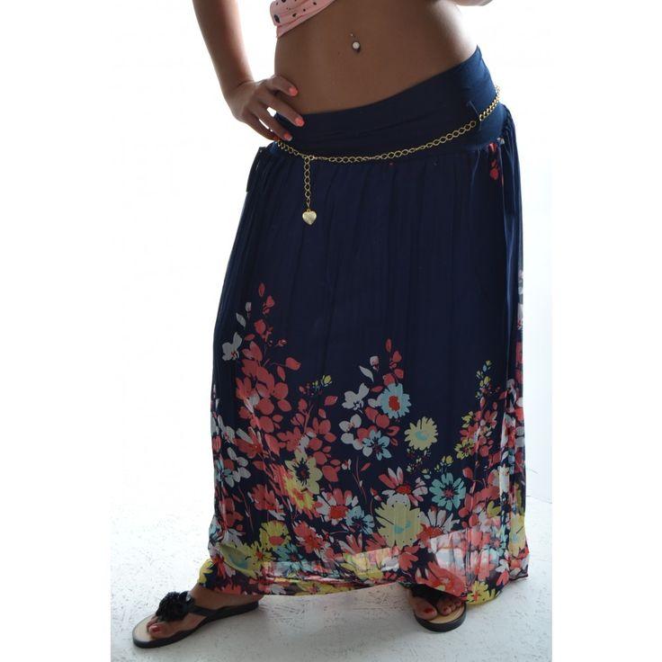 Letná dlhá sukňa s kvetmi - tmavomodrá