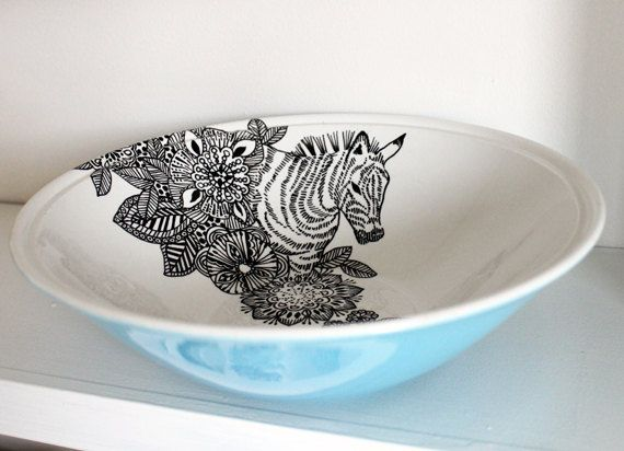 Floral Zebra vintage serving bowl by yvonneellen on Etsy, $36.00