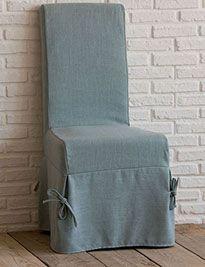 Sedia sfoderabile con vestito in misto lino colore acqua