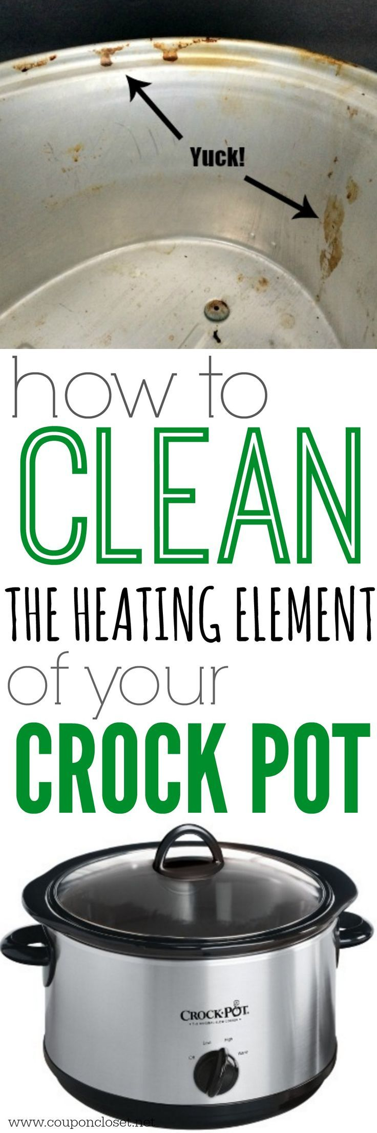 How to Clean inside of Crock pot - yes, you can actually clean the heating element of your crock pot.