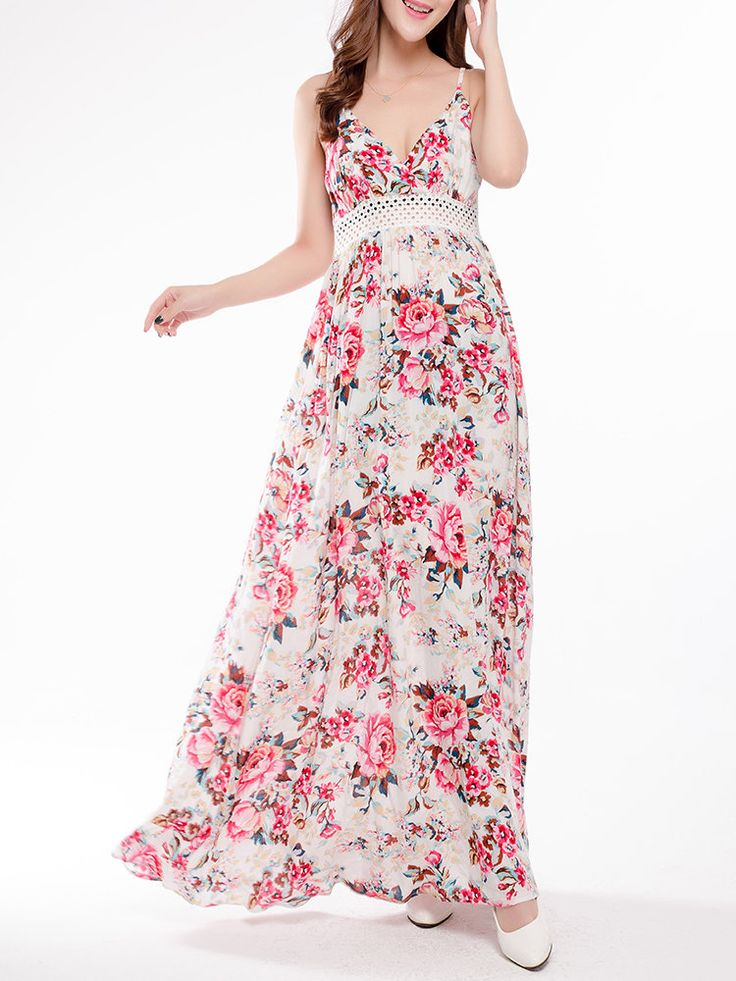 Floral Print Sexy Hollow Camisole V-neck Women Maxi Dress